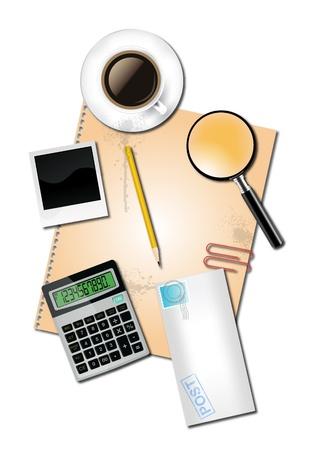 Rekenmachine en kantoorbenodigdheden Stock Illustratie
