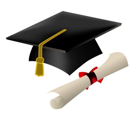 academic achievement: Graduation cap and diploma