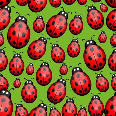 Seamless ladybug background Vector