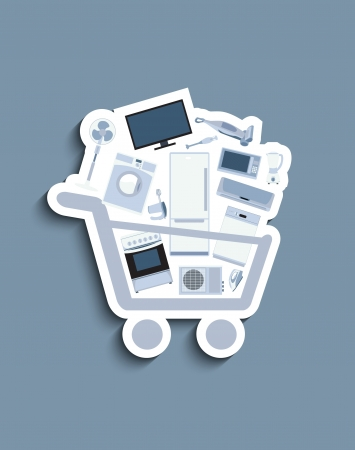 Shopping cart with electronics Stock Vector - 20231003