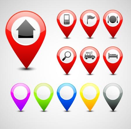 GPS pin set Stock Vector - 20259195