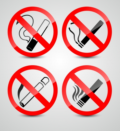 smoldering cigarette: No smoking symbols