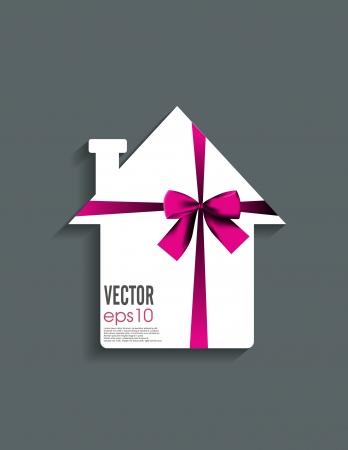 trinket: Ribbon on paper house