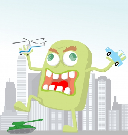 eccentric: Funny cartoon monster Illustration