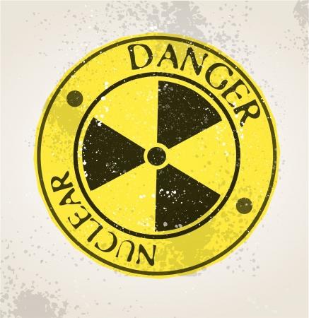hazardous waste: Grunge segno nucleare Vettoriali