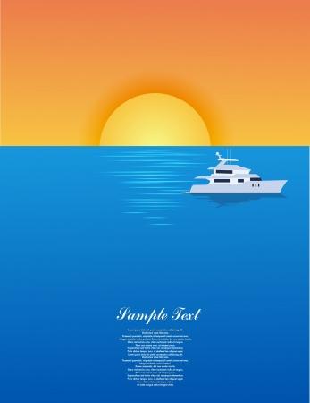 luxury liner: Yacht on sea