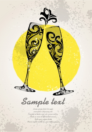 Abstract champagne glasses Vector