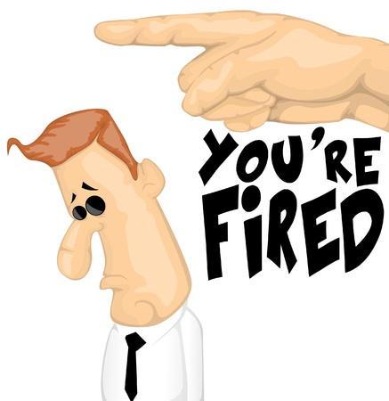 sales executive: Personaje de dibujos animados Fired Vectores
