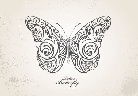 open the wings: Tribal butterfly Illustration