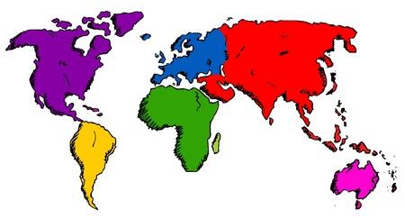 north america map: Disegnati a mano mappa del mondo Vettoriali