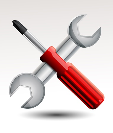 Screwdriver and wrench Stock Vector - 20259248