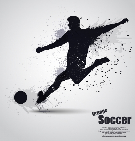 Grunge voetballer Stock Illustratie