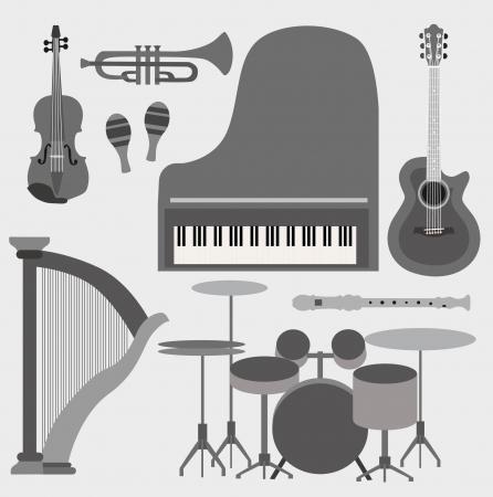 楽器: 楽器セット  イラスト・ベクター素材