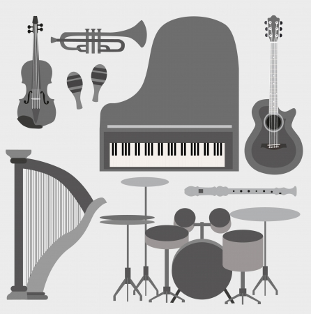 musical theater: Musical instruments set Illustration