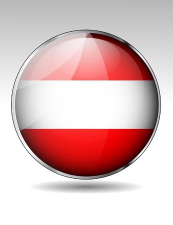 austrian flag: Austria flag button Illustration