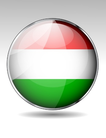 Hungary flag button Stock Vector - 20259374