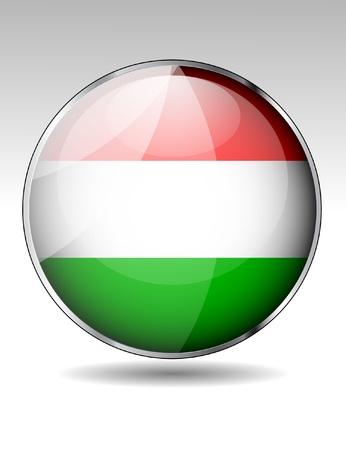 Hungary flag button Stock Vector - 20259374