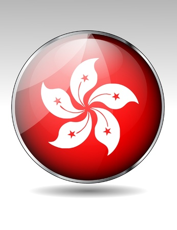 Hong Kong flag button Stock Vector - 20259365