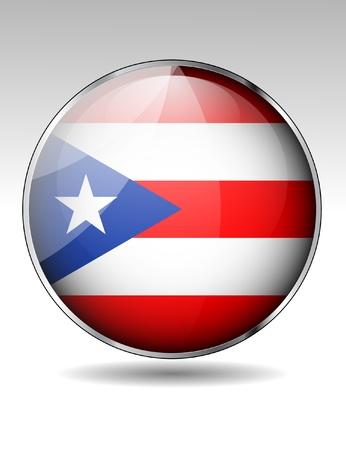 bandera de puerto rico: Puerto Rico Bandera de botón Vectores
