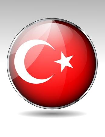 Turkey flag button Stock Vector - 20259366