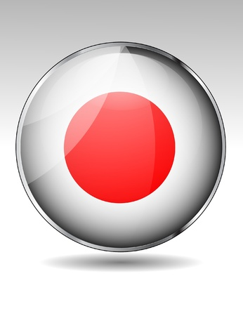 Japan flag button Stock Vector - 20259376