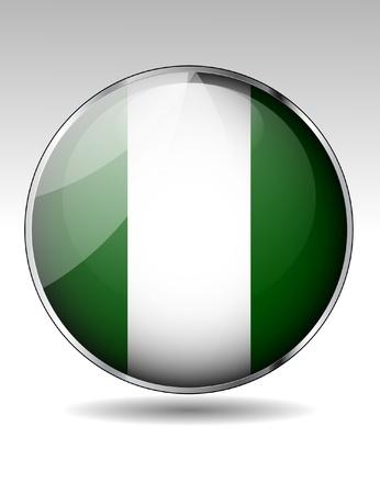 Nigeriai flag button Stock Vector - 20259378