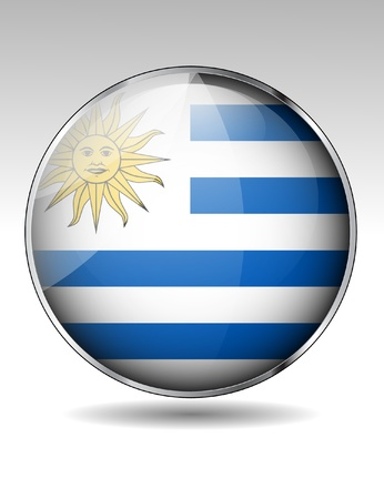 bandera de uruguay: Botón de la bandera de Uruguay Vectores
