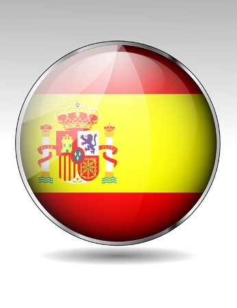 Spain flag button Stock Vector - 20259361