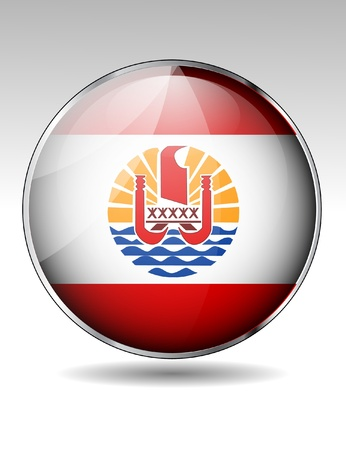 French Polynesia flag button Vector