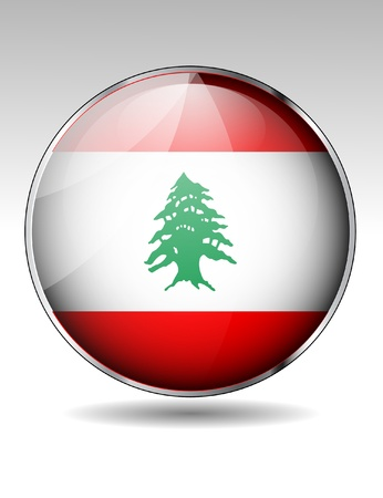Lebanon flag button Stock Vector - 20259323