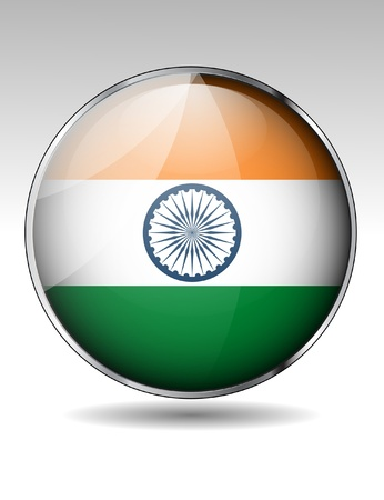 bandera de LA INDIA: India bandera bot?n Vectores