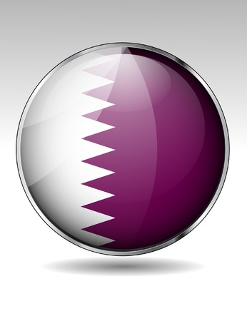 Qatar flag button  Stock Vector - 20259363