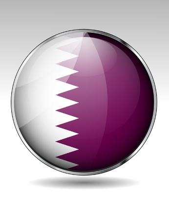 Qatar flag button Stock Vector - 20259363