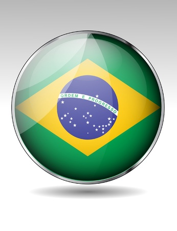 Brazil flag button Stock Vector - 20259346