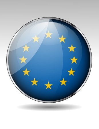 European union  flag button Stock Vector - 20259339