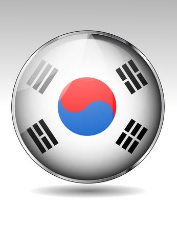 South Korea flag button Stock Vector - 20259345