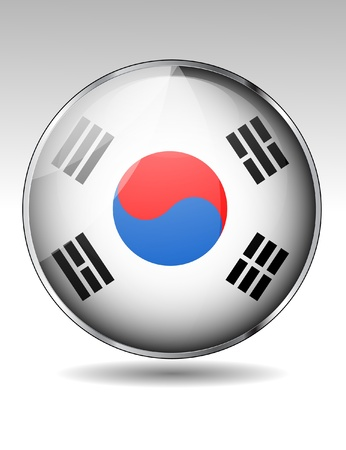 South Korea flag button Stock Vector - 20259345