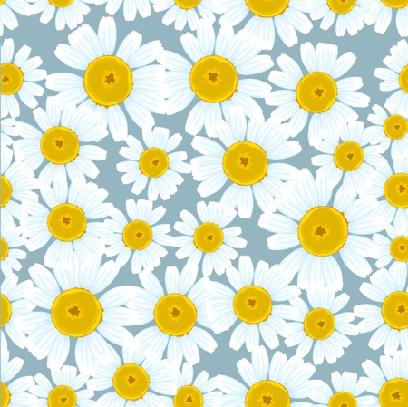 simple flower: Chamomiles seamless background