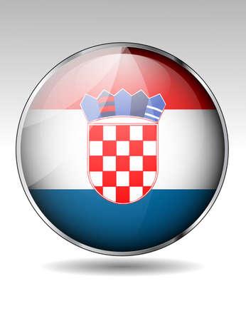 bandera de croacia: Botón del indicador de Croacia Vectores