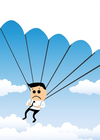 parachuting: Parachuting Businessman Illustration