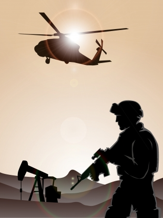 Soldier with helicopters Illustration