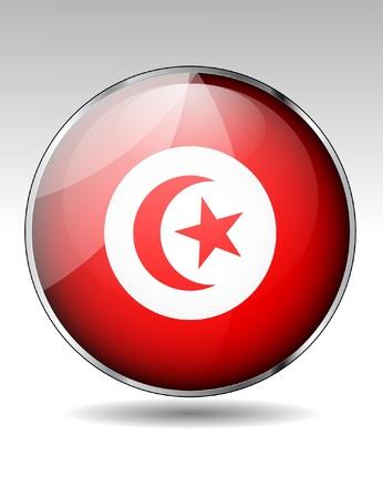 Tunisia flag button Stock Vector - 21059675