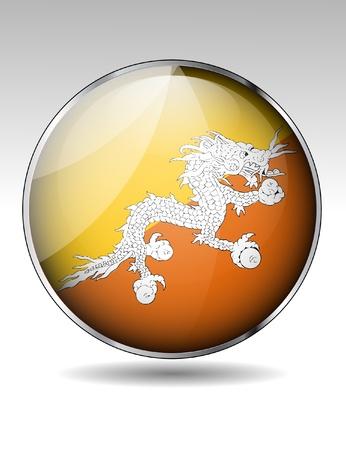 bhutan: Bhutan flag icon Stock Illustratie