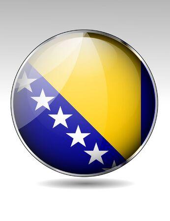 herzegovina: Bosnia and Herzegovina flag button Illustration