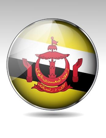 brunei: Brunei flag button Illustration