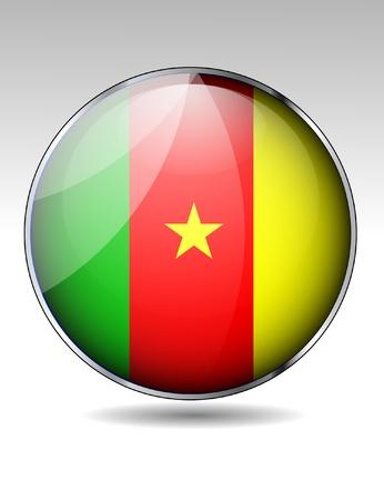 cameroon: Pulsante di bandiera Camerun Vettoriali