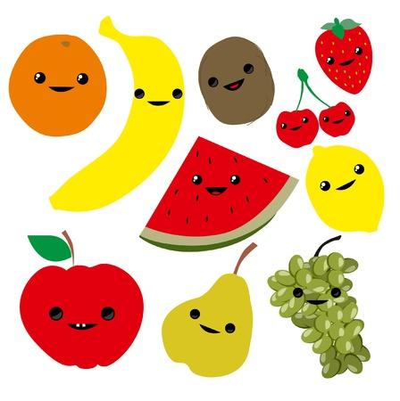 children eating fruit: Cute cartoon fruits