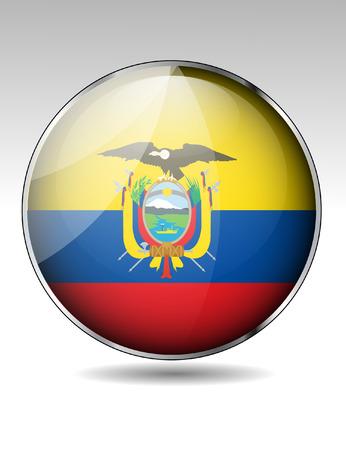 ecuador: Ecuador flag button Illustration