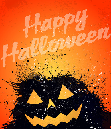 Grunge Halloween pumpkin background Vector