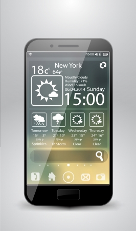 Smartphone weather widgets Vector
